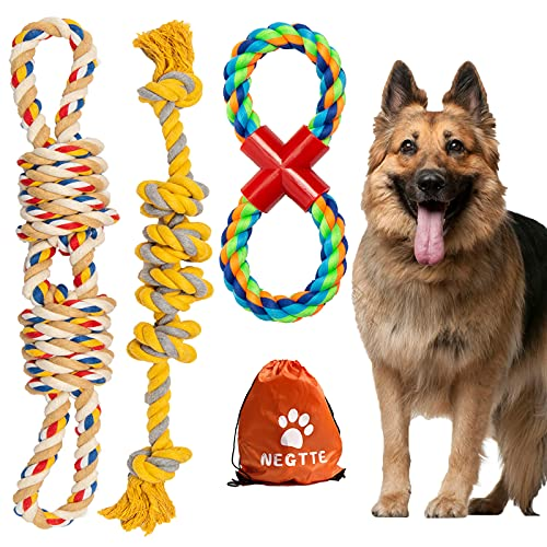NEGTTE Dog Rope Toy-Dog Toys for Aggressive Chewers-Dog Chew Toys-Dog Toy Rope Set-Tough Dog...