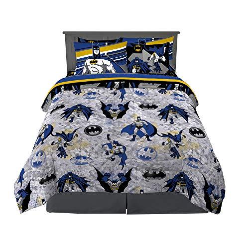 Franco Kids Bedding Super Soft Comforter and Sheet Set with Sham, 7 Piece Full Size, Batman