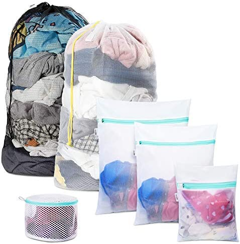 Plusmart 6 Pack Laundry Bag Including 2 Pack 24 x 36 Extra Large Mesh Laundry Bags with Drawstring product image