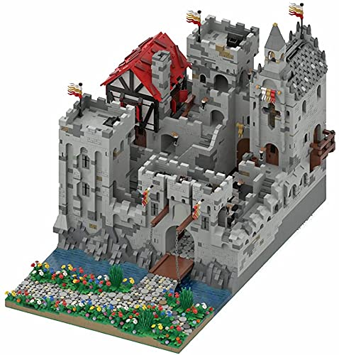 Modelo de fortaleza medieval compatible con Lego, MOC, construcción de partículas pequeñas, colección de arquitectura, construcción de juguetes, MOC-45559 (12,323 + piezas)