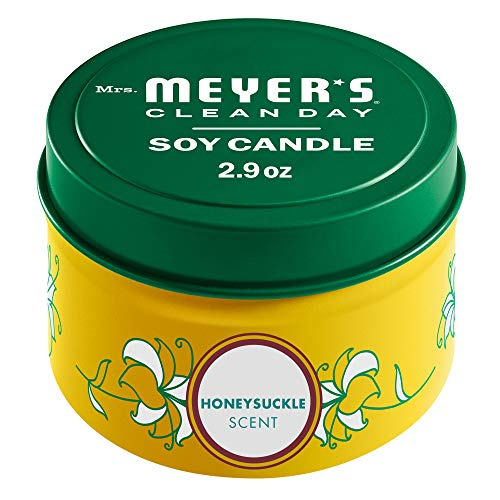 Mrs. Meyer's Clean Day Scented Soy Candle, Tin Candle, Honeysuckle Scent, 2.9 Oz