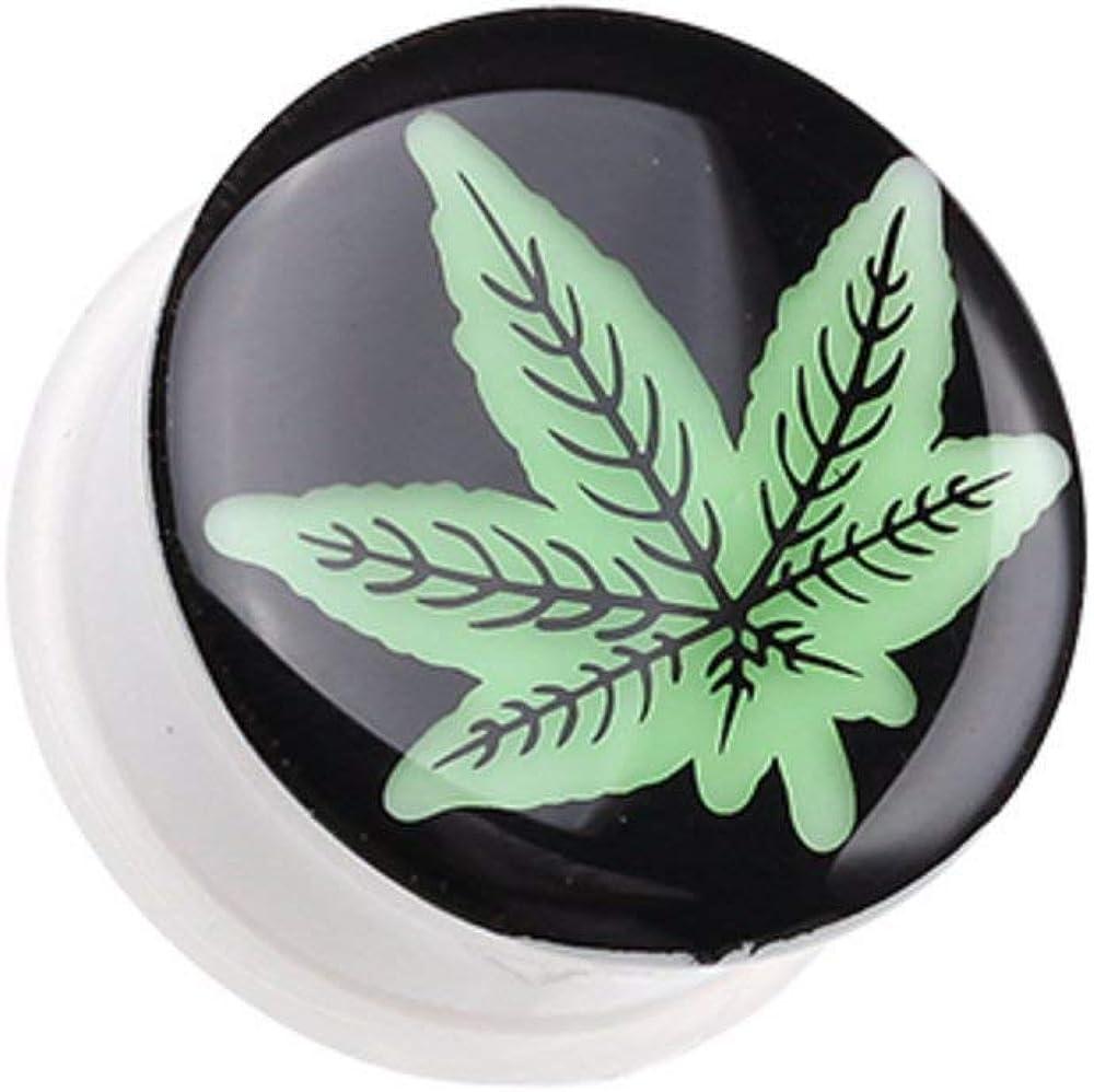 Covet Jewelry Glow in The Dark Cannabis Leaf Single Flared Ear Gauge Plug