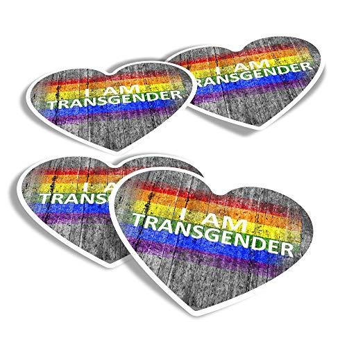 Vinyl Heart Stickers (Set of 4) - I Am Transgender LGBT Flag Fun Decals for Laptops,Tablets,Luggage,Scrap Booking,Fridges #14259