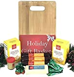 Hickory Farms Gift Basket and Bamboo Cutting Board Gift Set - Ultimate Christmas Edition with Beef Summer Sausage, Cheese, Mustard, Crackers, Strawberry Bon Bons and BONUS Andes Mints
