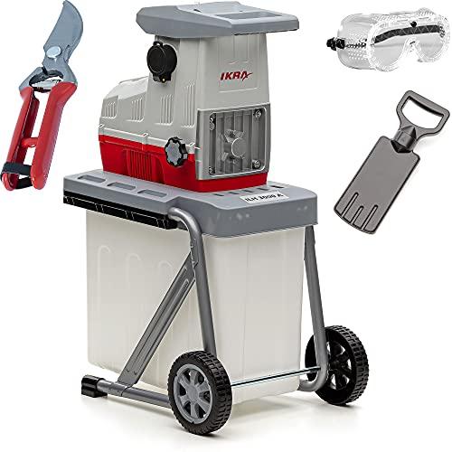 IKRA trituradora silenciosa eléctrica ILH 3000 A, incl. tijeras de podar y gafas de seguridad