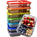 Youngever 7 Pack Bento Lunch Box, Meal Prep Containers, Reusable 3 Compartment Plastic