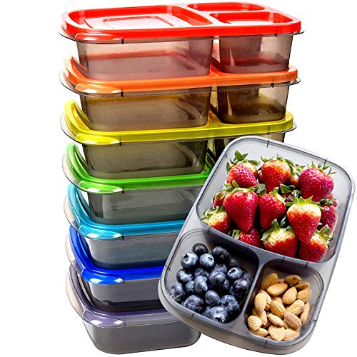 Youngever 7 Pack Bento Lunch Box Meal Prep Containers Reusable 3 Compartment Plastic Divided Food Storage Container Boxes