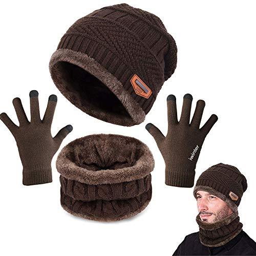 CheChury Bufanda Gorro Guantes Beanie Unisexo Set de Bufanda Conjunto de Guantes Táctiles Antideslizante Punto Sombreros Invierno Regalos Hombre Mujer