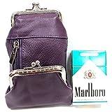 Women's Genuine Leather Cigarette Case Coin Purse Double Twist Clasp Closure Zipper Pocket- Purple