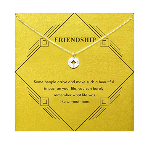 Gray Camel Friendship Compass Necklace Birthday Gift with Message Card Gift Card for Women Girls (sliver compass)
