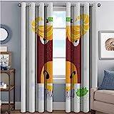 Zodiac Tauro - Cortinas opacas de alta resistencia, diseño de toro enojado a mano, diseño de Tierra y fechas para dormitorio, jardín de infancia, sala de estar, 52 x 36 pulgadas, multicolor