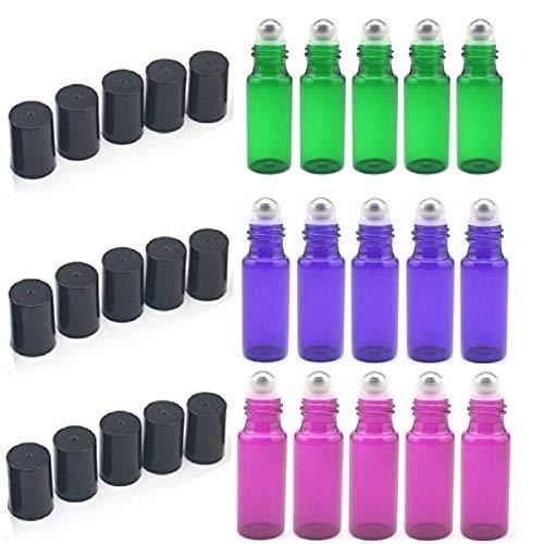 15 Piezas 5 ml Botes de vidrio rellenables ego de 15 botes para aromaterapia