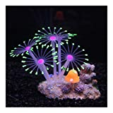 Yangmeijuan Conveniente Decoración del Arte de Coral Artificial Paisaje de Silicona Brillante Efecto de simulación con Copa de succión del Tanque de Pescados del Ornamento del Acuario Regalo Durable
