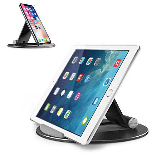 OMOTON Tablet Stand Adjustable, Desktop Aluminum iPad Stand with Anti-Slip Base, Portable Holder Dock for iPad Tablet, Samsung Tab, E-Reader and Cellphones, Black