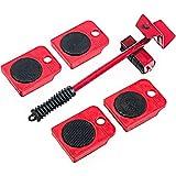 Tingz Sollevatore per mobili mobili Lifter Durable Heavy Appliance Mobili Sollevamento e spostamento Set 1 asta di sollevamento e 4 rulli mobili capacità fino a un massimo di 150 kg(Rosso)