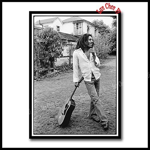 Bob Marley Poster Reggae National Musik Rock White Coated Paper Poster Malerei Wandaufkleber 42X30 Cm Schwarz
