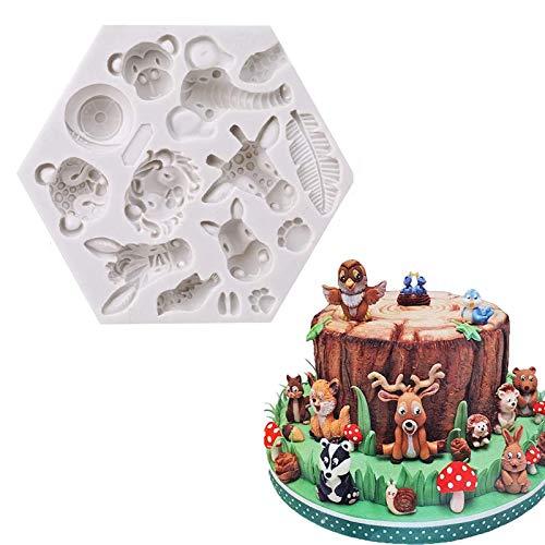 Wald Tiere Silikonform Diy Backen Fondant Formen Kuchen Schokoladenformen Silikon Wald Dekorative Kuchenform Mold Für 3D Animal Schokolade Süße Formen Silikon Backformen Dekorationswerkzeuge