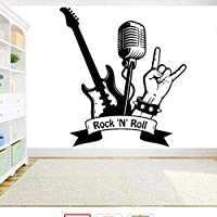 Cwinan ミュージカルウォールステッカーロックンロールギターマイクウォールステッカーミュージッククラブホームベッドルームデコレーション壁画リムーバブルデカール63X57Cm