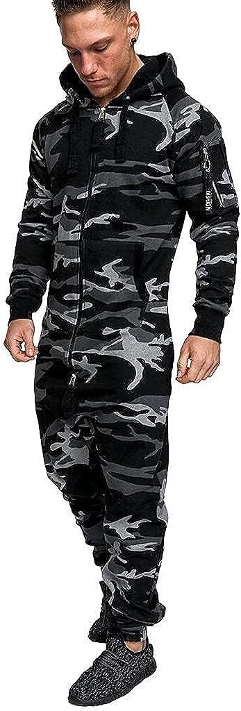Clearance Men Hoodie Onesie Jumpsuit Long Sleeve Camouflage Rompers Casual Zipper Playsuit Slim Fit Tracksuit
