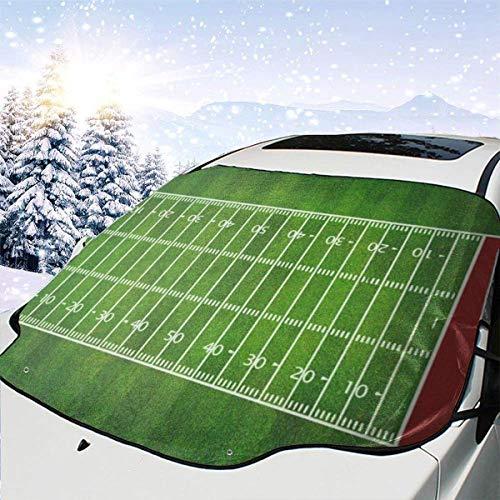LYMT Auto-Windschutzscheiben-Schnee-Abdeckung, American Football, Sonnenschutz, Windschutzscheiben-Abdeckung, UV-Schutz, Staubschutz, Frost, Schnee, Eis, für jedes Wetter, 147 x 118 cm