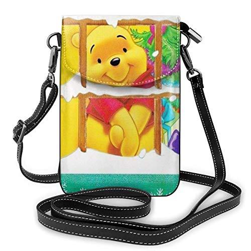 Pequeño Crossbody bolsos de teléfono celular monedero Navidad Winnie impresión con ranuras para tarjetas de crédito