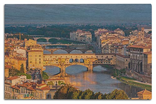 Lantern Press Florence, Italy - Ponte Vecchio Over Arno River in Sunset Glow 9031459 (12x18 Wood Wall Sign, Wall Decor Ready to Hang)