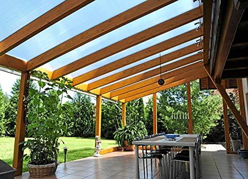 Acrylshop24 Terrassendach Terrassenüberdachung Carport Komplettset ECO Polycarbonat 16mm klar 2000mmx5110mm (TxB)