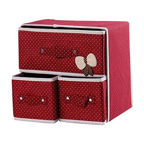WASDY Caja De Almacenamiento para Ropa Interior, De Tela Oxford, Caja De Almacenamiento De Escritorio para Sujetador, Ropa Interior, Calcetines, como Un Cajón, con Dos Capas,3 Cajones,Rojo