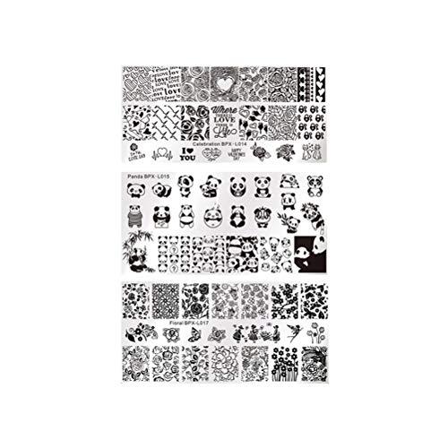 Lurrose 3 Blatt Nagel Druckplatte Panda Flower Love Heart gemalt Druckvorlage Stempelplatte Nail Art Vorlage zum Valentinstag