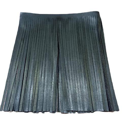 Yalulu 2 Meter Leder Quaste Schnittfranse Fransenborte Fransen Rock Kleidersack Fransenband DIY Saum Kleid Garment Apparel Dekoband (Schwarz)