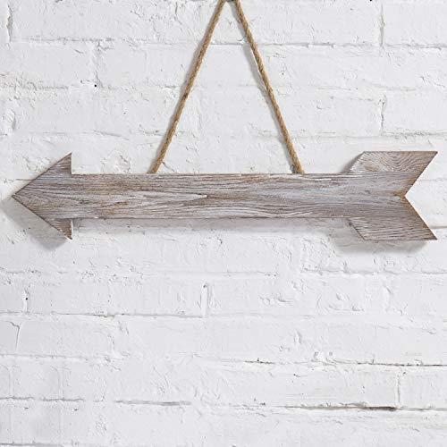 MyGift 23-Inch Hanging Wall Art Shabby Chic Whitewashed Wood Arrow Decoration