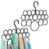 mDesign 2er-Set Schalhalter – Schalbügel und Aufbewahrung für Tücher, Krawatten, Gürtel – Accessoires ohne Ziehfäden aufbewahren – 18 Ringe – schwarz