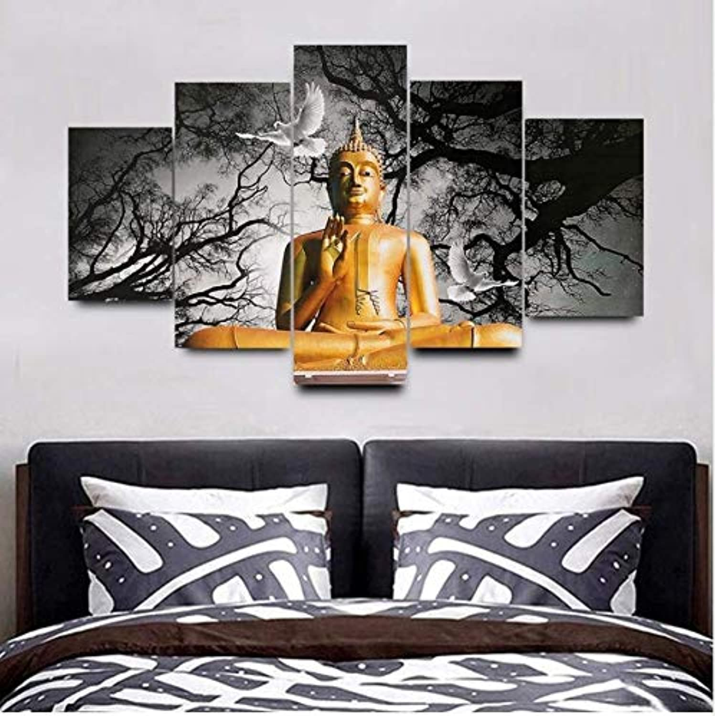 garantizado 5 piezas de lienzo moderno pintura grúa blancoa arte arte arte de la parojo Budda imagen decoración del hogar estatua de Buda religioso xutongrui  hasta 42% de descuento