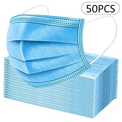 Máscara desechable de 50 piezas, máscara facial, protección contra el polvo, máscara protectora, orejeras (azul)