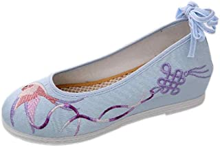 Inlefen Embroidered shoes Women's Round head Lacing Casual shoes Dancing shoes