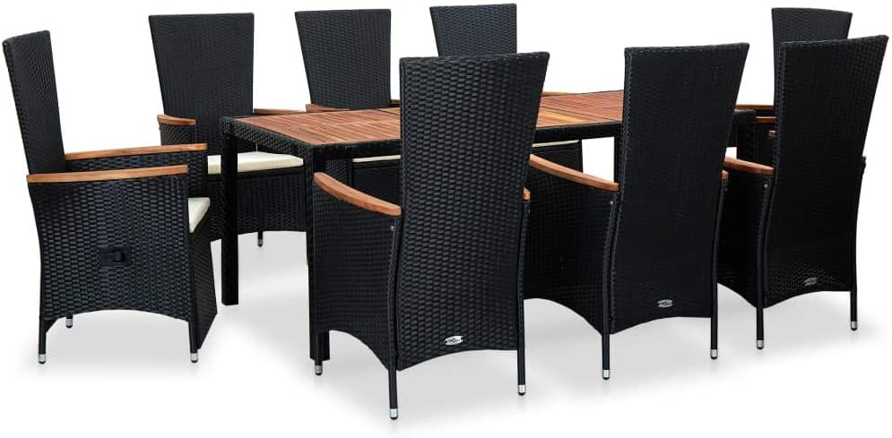Max 75% OFF 9 Piece Outdoor Dining Set Rattan Popular overseas Black Cushions with Poly