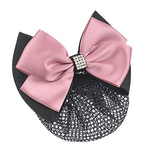 Mesdames Bow Tie Spring clip Barrette Barrette Pin Snood Cheveux net, Rose