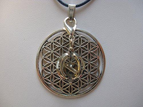 Natural mente – Pendentif Fleur de vie, la pierre + 1 Chakra, pendentif pour collier, amulette, fleur de vie, avec bandeau plastique, pierres précieuses, n ° 119