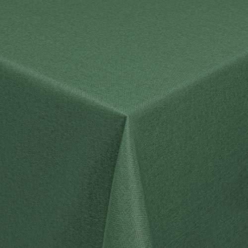 Leinen Optik Tischdecke Tischtuch Tafeldecke Leinendecke Abwaschbar Wasserabweisend Eckig 130 x 220 cm Dunkelgrün/Grün Fleckschutz Pflegeleicht mit Saumrand Leinentuch
