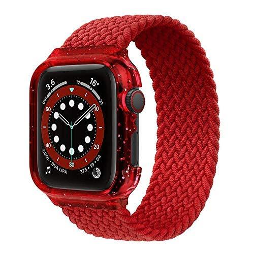 Correa trenzada de nailon para reloj Apple Watch de 4 mm y 40 mm, correa elástica para iWatch Serie 4 5 se 6+Bling Case 4 40 (color: rojo, tamaño: grande)