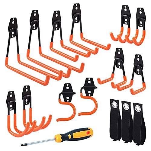 12er-Pack Garage Aufbewahrungshaken, Utility Doppelwandmontage Garagenhaken 6 Größen rutschfeste Werkzeughaken mit Hochleistungsgurten und Schraubendreher für Garagenwerkzeuge, Leitern(orange)