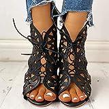 Sandálias Femininas de verão Botas de Tornozelo em Cunha Sapatos com Tiras de amarrar Retro Dedo Aberto Peixe Sandálias de Boca Casual OCO para Fora NAS Costas Sapatos com zíper, Preto, 36