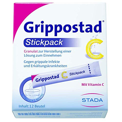 Grippostad C Stickpack Trinkgranulat - Grippe Kombipräparat bei Grippe- und Erkältungsbeschwerden - mit Paracetamol, Vitamin C, Chlorphenamin und Coffein, vegan - 1 x 12 Beutel Granulat, 5 g