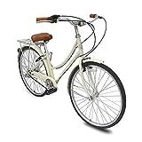Micargi Roasca NV3 26 inch Women's Shimano Nexus Inter-3 Three Speed City Bike Hi-Ten Steel Frame Lightweight Comfort Commuter Bike Beach Cruiser Bike Road Bike (Vanilla)