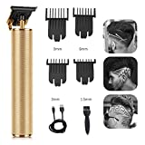 Electric Pro Li Hair Clippers Grooming Rechargeable Cordless Close Cutting T-Blade Trimmer for Men 0mm Baldheaded Hair Clippers Zero Gapped Detail Beard Shaver Barbershop (Gold)