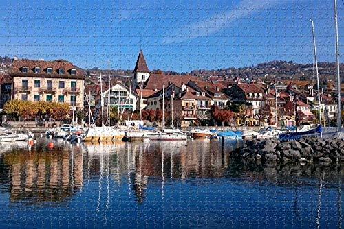 Puzzle für Erwachsene Genfer See Lausanne Schweiz Puzzle 1000 Stück hölzernes Reisegeschenk Geschenk