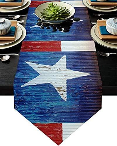 Camino de mesa moderno de granja,fácil de limpiar,lavable para fiestas,cocina,decoración de mesa diaria,bandera nacional africana de cinco puntos,tabla de madera agrietada,azul rojo y azul,33x228cm