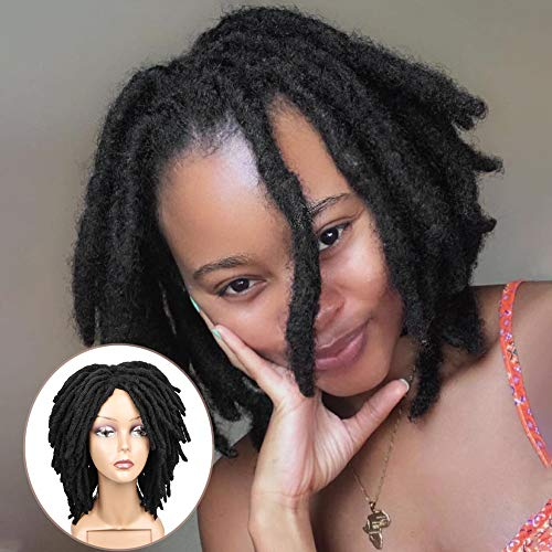 HANNE Short Dreadlock Wigs For Black Women and Men Faux Locs Crochet Twist Braids Glueless None Lace Synthetic Wig African American Wigs (Natural Black)