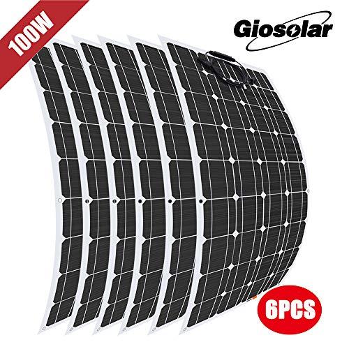 Panneau solaire monocristallin souple de 600 watts 12 volts cellule photovoltaïque module, pour camping car,lumières, bateaux, toits, tentes, voiture, maison hors réseau,chargeur de batterie 12V 24V