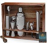 Juego de coctelera VinoYes - Barra de herramientas profesional de acero inoxidable de 16 piezas en caja de madera y libro de recetas - Juego de mezclador con soporte de regalo noble